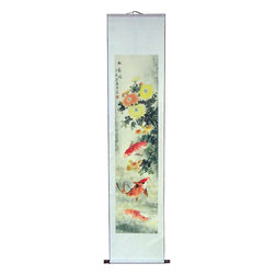 "Oriental-Décor - 70"" Tall Koi Fish and Peony Flowers - A lovely bouquet of peony flowers and colorful koi fish are the subjects of this exquisite 68-inch tall scroll painting from China. Koi fish are regarded as attractors of luck and wealth. The peony is considered a special flower in Asia and the Chinese have festivals based solely around the peony. This sparkling scroll painting will add a vibrant decorative touch to any wall or room. At nearly 6 feet tall, this one-of-a-kind painting (we only have one in stock) will be a stand-out piece anywhere it is hung."