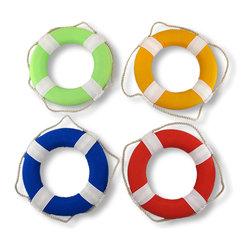 Zeckos - Set of 4 Brightly Colored Life Preserver Wall Hangings - Ahoy, there This set of 4 brightly colored live ring wall hangings adds a shot of color to any nautically themed room. Each life ring has a Styrofoam core, white cotton covering and rope, and bold red, blue, lime green or bright yellow accents. Each life ring measures 9 inches in diameter, 1 1/4 inches thick. For decorative use only.