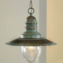 Fredeco Nautical Pendant - Hanging  nautical pendant with brass shade and large glass available in different finishes