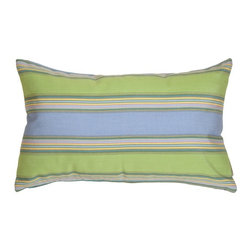 Pillow Decor - Pillow Decor - Sunbrella Bravada Limelite 12 x 20 Outdoor Pillow - Wide horizontal stripes of blue and green are the feature of this versatile rectangular pillow. The wonderfully bright and cheerful Sunbrella fabric makes this outdoor pillow a winner! Adds lumbar support during those leisurely meals on the patio or deck. Also works on a chaise when you're reading or taking a nap.