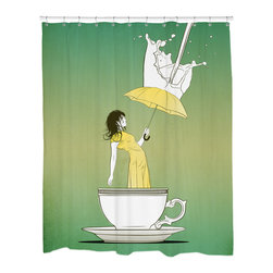 Sharp Shirter - Sharp Shirter Tea Time Shower Curtain - This curtain is printed in USA!. Hooks sold separately. Disclaimer: If you order multiple items, they may ship from separate locations.