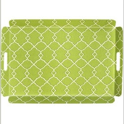 Serving Tray, Bed Tray, Breakfast Tray or Ottoman Tray, Decorative Green Trellis - Every room needs a great tray, and you can never go wrong with the trellis pattern.