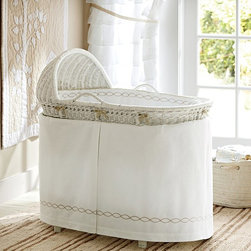 Monterey Bassinet Bedding - Tuck your newborn into our sweet and sturdy bassinet. Satin-stitch trim on the soft cotton percale bedding gives it a tailored style. An embroidered khaki chain runs around the fitted interior and the pleated crib skirt.