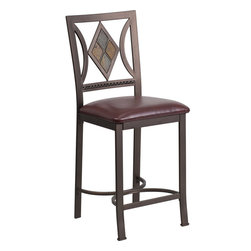 "Flash Furniture - 24"" Brown Metal Counter Height Stool with Brown Leather Seat - Improve your home with this stylish addition. This gracefully designed stool will complement your kitchen or dining room area. The designer back and plush padded seat looks and feels great."