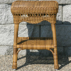 Casual Decor by Kaven - Sahara End Table - Walnut - Traditional styling. UV protected resin wicker over a powder coated steel frame. End Table is available