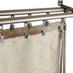 None - Regal Silver Adjustable Double Curtain Track Set - Design like a pro by redecorating your living space with this extremely smooth baton draw operating track with sliders. This adjustable curtain rack offers a superior slide that fits between the inner and outer rod.