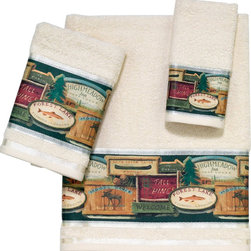 Avanti Linens - Rather Be Fishing 3 Piece Cotton Towel Set By Avanti Linens - Stay focused on fishing with these Avanti Rather Be Fishing bath towels. Featuring a rustic motif, this bath set is sure to catch your attention. Towels are beige in color.