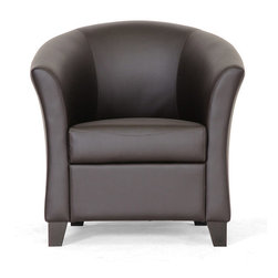Baxton Studio - Bourke Dark Brown Leather Modern Club Chair - Modern and masculine,the Bourke club chair features a hardwood frame with solid rubberwood legs finished in dark cherry stain with non-marking feet. Comfort is a priority with the combination of foam cushioning and spring supports.