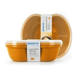 Preserve Small Square Food Storage Container - Orange- 2 Pack - Powered by Leftovers