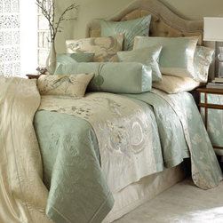 "Natori - Natori King Quilted Green Coverlet, 104"" x 90"" - Showcasing exquisite embroidery and decorative ""cloud"" quilting in elegant shades of pearl and green lily, scenic bed linens with exotic flora and fauna detail are made of cotton/silk satin; dry clean. Butterfly-print sheets are 400-thread-count cotton...."