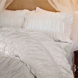 Crane & Canopy - White Sutter Ruched Sham - Euro - Expressive textures evoke a cool and youthful spirit. With volume and dimension, our Sutter White ruched duvet cover is a narrative of modern life:  complex, multi-faceted, and lustrous.
