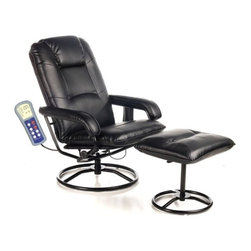 """Comfort Products - Leisure Heated Reclining Massage Chair with Ottoman - Features: -Leisure recliner and ottoman.-PVC upholstery.-10 motor massaging and heating.-Swivel, recline and recline tension.-Soothing heat treatment in lumbar area.-Simulated leather construction.-Strong steel tubular construction.-Black finish.-10 Vibration motors massage back, thighs and calves.-Upholstery Color: Black.-Distressed: No.-Hardware Material: Steel.-Number of Items Included: Includes 2 items: chair and ottoman.-Non-Toxic: Yes.-Scratch Resistant: No.-Stain Resistant: No.-Water Resistant or Waterproof: Water Resistant.-Fire Resistant: No.-Mildew Resistant: No.-Fade Resistant: No.-Tear Resistant: No.-Glider: No.-Zero Gravity Design: No.-Reclines: Yes -Recline Type: Manual.-Required Back Clearance to Recline: Requires 13"""".-Recline Angle : Maximum Angle: 135 Degrees..-Cushion Fill Material: Foam Fill.-Seat Comfort: Medium.-Removable Seat Cushions: No.-Removable Back Cushions: No.-Removable Upholstery Cover: No.-Removable Massage Softening Pad: No.-Cupholders: No.-Massage Types: Vibration massage.-Music Synchronized Massage: No.-Foot Massage: No.-Number of Pre-Programmed Massages: 9.-Program Memorization: No.-Vibrating Seat: Yes.-Number of Vibration Motors: 10.-Adjustable Speed: No.-Adjustable Intensity: Yes.-Number of Intensity Settings: 5.-Adjustable Width: No.-Adjustable Foot Rest: No.-Adjustable Headrest: No.-Massage Rollers: No.-Body Scanning: No.-Air Pressure System: No.-Built In Control Panel: No.-Remote Control: Yes.-LCD Control: No.-Programmable Timer: Yes.-Automatic Shut Off: Automatic shut off after 30 minutes.-Built In Music Player: No.-Headphones Included: No.-USB Flash Memory Stick Included: No.-Operating Voltage: AC 120V 60HZ.-Swatch Available: No.-Commercial Use: No.-Recycled Content: No.Dimensions: -Overall Height - Top to Bottom (Overall Height - Top to Bottom: Chair) : 40.25"""".-Overall Height - Top to Bottom (Overall Height - Top to Bottom: Ottoman) : 18"""".-Overall Wid"""
