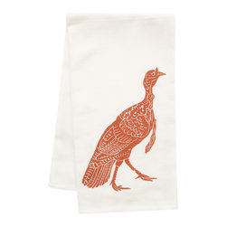 "artgoodies - Organic Block-Print Turkey Towel - This high quaility 100% certified organic cotton tea towel has been printed with one of my original linocut block prints! It measures 20""x28"" and comes wrapped in a green ribbon made of 100% recycled bottles! Nice and absorbent for drying dishes, looks great when company is over, and makes a great housewarming gift!"