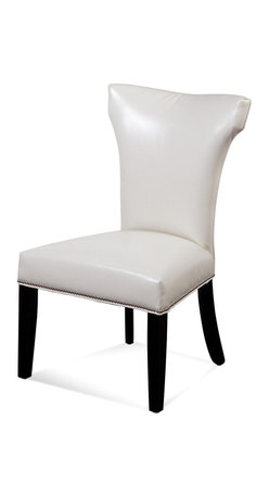 Bassett Mirror - Bassett Mirror Nelson Nailhead Parsons Chair, Kleen Seat Ivory (Set of 2) - Nelson Shaped Nailhead Parsons Chair, Kleen Seat Ivory, Set of 2