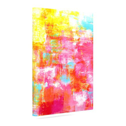 """Kess InHouse - Ebi Emporium """"Off The Grid III"""" Pink Yellow Wrapped Art Canvas (12"""" x 10"""") - Bring your outdoor patio to life with this artistic outdoor canvas wrap featuring gorgeous artwork by KESS InHouse. These canvases are not only easy to hang and remove but also are the perfect addition to your patio collection. These canvases are stretched around a wooden frame and are built to withstand the elements and still look artistically fabulous. Decorating your patio and walls with these prints will add the splash of art and color that is needed to bring your patio collection together! With so many size options and artwork to choose from, there is no way to go wrong with these KESS Canvas Wraps!"""