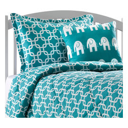 """American Made Dorm & Home - Turquoise Metro Oversized Twin Comforter with Matching Sham - Turquoise Bedding at its best! This modern geometric """"metro"""" print is a bold and bright turquoise (teal) color, quilted with 5 oz polyfil to keep you warm at night! Our comforter is 68""""x90"""" and is quilted in a diamond pattern.  It comes with one matching standard sham in turquoise metro. Made in USA."""