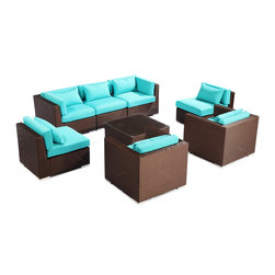 "Kardiel - Modify-It Outdoor Furniture Patio Sofa Sectional Molokai 8-pc Set, Turquoise - Creating a modern comfortable zone for easy flowing conversations for up to 7 is the intention behind the Molokai 8-piece set design. Facing inward, sleek contemporary seating elements occupy the external corners of the grouping. A matching coffee table with tempered glass top is placed as the centerpiece.  The flexible nature of Modify-It modular allows for customized reconfiguring of the layout at will.  Molokai 8-piece set by Modify-It. The design origins are Clean European. The elements of comfort are inspired by the relaxed style of the Hawaiian Islands. The Aloha series comes in many configurations, but all feature a minimalist frame and thick, ample modern cube cushions. The back cushions are consistent in shape, not tapered in to create the lean back angle. Rather the frame itself is specifically ""lean tapered"" allowing for a full cushion, thus a more comfortable lounging experience. The cushion stitch style utilizes smooth and clean hand tailoring, without extruding edge piping. The generously proportioned frame is hand-woven of colorfast, PE Resin wicker. The fabric is Season-Smart 100% Outdoor Polyester and resists mildew, fading and staining. The ability to modify configurations may tempt you to move the pieces around... a lot. No worries, Modify-It is manufactured with a strong but lightweight, rust proof Aluminum frame for easy handling."