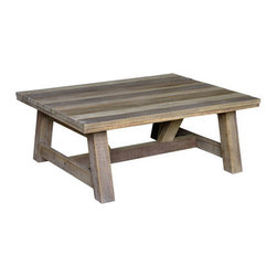 Tank Coffee Table - This beautiful teak wood table has summer entertaining written all over it. I love the various tones in the wood. It would certainly complement a wide rage of table setting styles, from whites to full color.