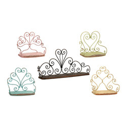 "Annabelle Metal Chair Shelves - Set of 5 - This charming set of five metal ""chair"" shelves feature antiqued finishes in a soft color palette. Great for a variety of decorative accents or as simple stand alone wall art."