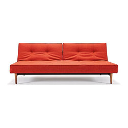 """Innovation USA - Innovation USA Splitback Sofa - Dark Wood Legs - Mixed Dance Burned Orange - 45"""" - The Istyle classic. Simple, modern elegance combined with multifunction and modularity. Enables you to create a playful non-static living room."""