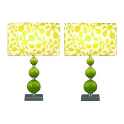 Aspire - Beta Table Lamp - Set of 2. Green glass balls and silver accents give this retro lamp set a modern and contemporary feel. The abstract designs on the rectangular shades adds to the contemporary look. Metal and Glass. Color/Finish: Green, silver. UL listed. Uses 60 watt max bulb. 20 in. H x 13.5 in. W x 8 in. D. Shade: 8 in. H x 13.5 in. W x 8 in. D. Weight: 8 lbs.