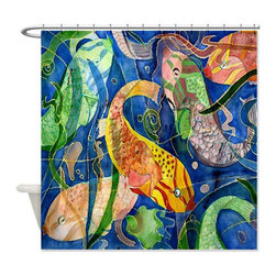 usa - Tropical Fish Art Shower Curtain - Beautiful shower curtains created from my original art work. Each curtain is made of a thick water resistant polyester fabric. The permanently applied art work appears on the front side with the inside being white. 12 button holes for easy hanging, machine washable and most importantly made in the USA. Shower rod and rings not included. Size is a standard 70''x70''