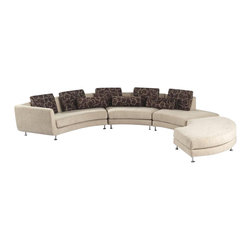 VIG Furniture - A94 Beige Microfiber Fabric Sectional Sofa With Ottoman - The A94 sectional sofa has an eye catching modern appeal that will look good in any living room setting. This sectional sofa comes in a stylish C shaped design. The sectional is upholstered in a beautiful beige microfiber fabric. High denasity foam is placed within the cushions for added comfort. A matching ottoman comes included with the sectional which can be used to kick your feet up or place it at the end for additional seating. Attached to the bottom of the sectional are polished chrome legs that add to the overall look. The pillows shown come included with the sectional