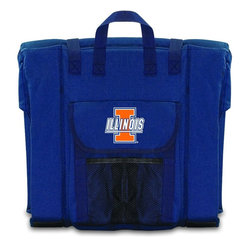 Picnic Time - University of Illinois Stadium Seat in Navy - The Stadium Seat is ideal for anyone who enjoys sporting events, concerts, or other arena activities. This padded seat is made of durable 600D polyester and provides maximum seat support, which is especially useful when sitting on hard bleacher seats or benches. EPE foam in the seat's core also insulates your seat from cold bleachers. A large zippered pocket keeps all of your essentials within reach. Convenient carry straps allows the seat to be carried as a folded tote. You'll want to take the Stadium Seat to every spectator event to ensure your seating comfort.; College Name: University of Illinois; Mascot: Fighting Illini; Decoration: Digital Print