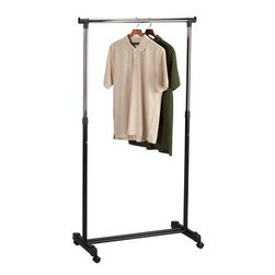 Household Essentials - Rolling Adjustable Garment Rack, Chrome - The pinnacle of simplicity and effectiveness, our Garment rack is a classically functional piece that de-clutters your closet and eases your clothing woes. With 4 adjustable heights and up to 45 of hanging space. Its lightweight design and rolling base keep it and you mobile and your clothing ready to wear.