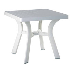 "Compamia - Viva Resin Square Dining Table 31 inch White - Viva square dining table. Strong and stable legs. Perfect for pool, beach and heavy use areas. Resistant to suntan oils, chlorine and saltwater. Has an umbrella hole and cap. Bottom piece is 14 inches high above the gorund for easy use with high umbrella bases. Easy cleaning.; Made from commercial grade resin with gas injection molded legs, with non-skid rubber caps.; Extremely durable for outdoor temperatures.; Beautiful U.V. Resistant, Satin Finish. Easy to keep clean.; Perfect for heavy use indoor / outdoor areas.; Residential Use - 2 Years Limited Warranty. Commercial Use - 1 Year Limited Warranty; NO Assembly Required; Country of Origin: Turkey; Dimensions: 31""L x 31""W x 29""H. Umbrella hole good for 1.5""diameter poles. Bottom piece is 14""high above the ground"