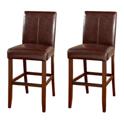 American Heritage - American Heritage Carla Stool in Brown- 26 Inch (Set of 2) - The contemporary styling of the Carla-Brown is enhanced by the stitching in the back. The extra thick seat cushion is sure to have you and your family comfortable for hours.