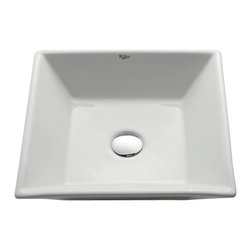Kraus - Kraus KCV-125 White Square Ceramic Sink, Without Pop-Up Drain, 4.72 X 16.8 X 16. - Add an elegant touch to your bathroom with a Kraus ceramic washbasin