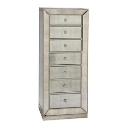 Bassett Mirror - 24 in. Bath Chest - Mirrored furniture. Made from linen. 24 in. W x 18 in. D x 61 in. H