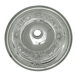 Whitehaus Collection - Whitehaus WH602ACF Round Polished Stainless Steel Drop In Bathroom Basin - Round polished stainless steel drop in bathroom basin by Whitehaus is inspired by nature elements. It features floral pattern that brings elegance and style into your bathroom. The stainless steel finish is easy to keep it clean and shinny for a long time. It compliments wide range of bathroom styles.