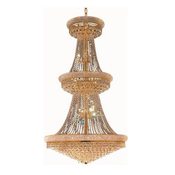 Elegant Lighting - Elegant Lighting 1800G42 Primo 38 Lights Chandelier - This classic, elegant Empire series is flowing with symmetry creating a dramatic explosion of brilliance. Primo is a dynamic collection of chandeliers that add decorative drama to any setting.