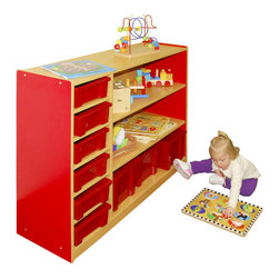 Ecr4kids - Ecr4Kids Classroom Colorful Essentials Multi-Purpose Cabinet - 3 Level Red - A multi-purpose mobile storage cabinet that is the perfect height for little ones to reach.Great for storing classroom essentials, toys, puzzles and more.Sturdy construction easy-to-clean laminate inside and out that compliments any classroom. Storage bins not included.