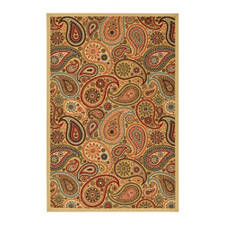None - Beige Contemporary Paisley Design Non-skid Area Rug (3'3 x 5'0) - Add charm to any space with this contemporary area rug. With its paisley design,this elegant rug will enhance the decor of your home or office.