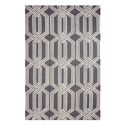 """nuLOOM - Contemporary 7' 6"""" x 9' 6"""" Grey Hand Hooked Area Rug Trellis BC67 - Made from the finest materials in the world and with the uttermost care, our rugs are a great addition to your home."""