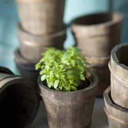 Rustic Wood Garden Pot - These little wooden pots are a fun way to seed plants. They look like mini antique wine casks. Line them up on the window sill and watch your seeds grow.