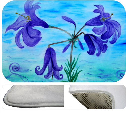 "usa - Lillies Bath Mat,  20"" X 15"" - Bath mats from my original art and designs. Super soft plush fabric with a non skid backing. Eco friendly water base dyes that will not fade or alter the texture of the fabric. Washable 100 % polyester and mold resistant. Great for the bath room or anywhere in the home. At 1/2 inch thick our mats are softer and more plush than the typical comfort mats. Your toes will love you."