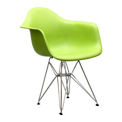IFN Modern - Eames DAR Chair-Green - The Eames DAR Chair was originally designed in 1948 and won an award that same year at the prestigious New York Museum of Modern Art. With its ergonomically molded seat and bold cast-iron wire legs, the Eames DAR Dining Chair was rightly seen as a design breakthrough. The award-winning, innovative style of married couple, Charles and Ray Eames, would shape the interiors of executive offices and homes for years to come. Slip into the ultimate Paris-chic seat, with this classic Fifties chair. This Eiffel Tower-inspired chair is synonymous with mid-twentieth century design expertise. The Eames DAR Chairs molded-fiberglass seat shell provides comfort, designer good looks, and effortless style. This item is not an original Charles & Ray Eames product, nor is it manufactured by or affiliated with Herman Miller.