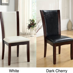 Furniture of America - Furniture of America Mario Leatherette Dining Chairs (Set of 2) - Stay comfortable over coffee and dessert with these Mario dining room chairs. The solid wood frame has a warm and inviting dark cherry finish that gives the chairs a classic elegance and highlights a black or white leatherette cushion.