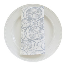 Peony Napkin Set, Grey - This 100% organic linen napkin set is uniquely hand designed, printed and sewn to bring joy and color to your table.