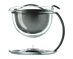 Mono - Filio Collection Small Teapot With Integrated Warmer 20 oz. - Behold, a teapot worthy of even the greatest tea gurus. Loose-leaf teas are brewed to perfection within this wide sieve and classic glass bowl. The contemporary stand connects a tea light tray underneath, keeping your tea at just the right temperature.