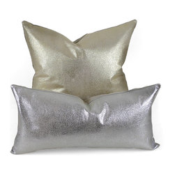 Pfeifer Studio - Metallic Leather Pillow, Silver, 9 X 18 - Our elegant metallic leather pillows are naturally modern. The subtle metallic pattern on the leather is contrasted with a natural linen back. Choose from gold or silver. Each closes with a hidden garment zipper and is fitted with a medium-fill feather and down inner.