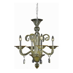 Elegant - Muse Yellow Swarovski Elements Dining Room Chandelier - Dramatic in its scale, color and delicate filigree, this design is a reproduction of a Venetian-style chandelier, with scrolling leaf and flower motifs.  The Muse Collection is modern beyond its years.