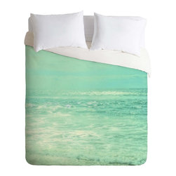 DENY Designs - DENY Designs Lisa Argyropoulos Where Ocean Meets Sky Duvet Cover - Lightweight - Turn your basic, boring down comforter into the super stylish focal point of your bedroom. Our Lightweight Duvet is made from an ultra soft, lightweight woven polyester, ivory-colored top with a 100% polyester, ivory-colored bottom. They include a hidden zipper with interior corner ties to secure your comforter. It is comfy, fade-resistant, machine washable and custom printed for each and every customer. If you're looking for a heavier duvet option, be sure to check out our Luxe Duvets!