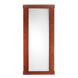 """Rejuvenation: Entry - An Arts & Crafts classic, our Oak-Framed Mirror is handmade using traditional mortise-and-tenon construction. A 1"""" bevel surrounds the mirror – another subtle detail that attests to its fine craftsmanship."""