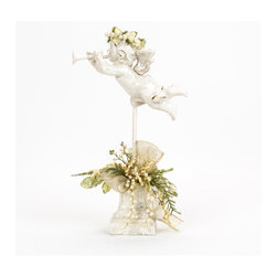 Christmas decorated cherub on spindle - White glittered cherub on a spindle. This cherub contains a custom, handcrafted Christmas floral arrangement on the base.