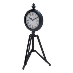 Benzara - Metal Tripod Clock with Tripod Stand - If you are left with small space in your room and you want to use this space purposely with decor perspective, have a look over 51648 METAL TRIPOD CLOCK. The metal clock features a tripod stand that is joined to the clock using supporting rods